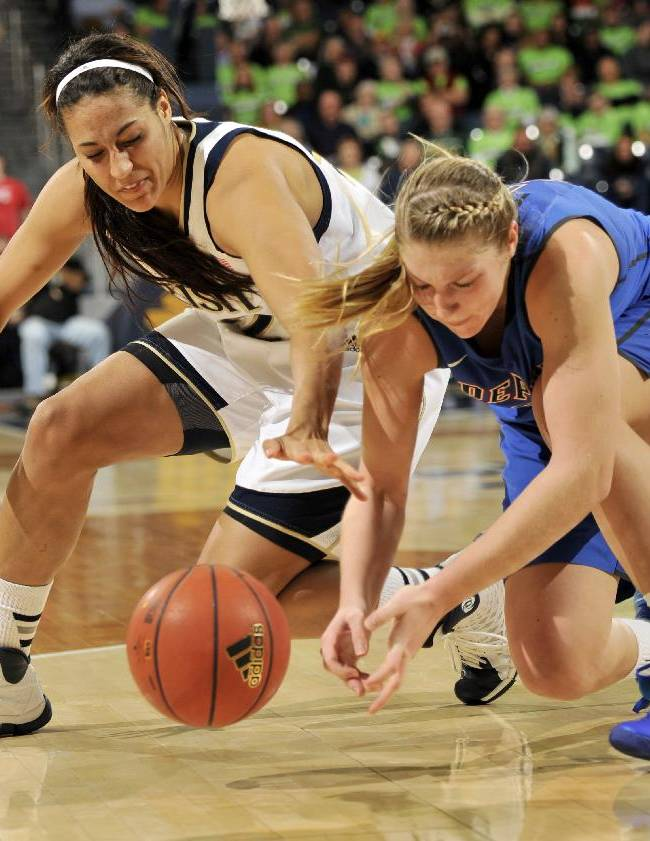 Notre Dame forward Taya Reimer, left, and DePaul guard Megan Podkowa battle for a loose ball during the second half of an NCAA college basketball game, Tuesday, Nov. 26, 2013, in South Bend, Ind. Notre Dame won 92-76