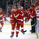 Detroit Red Wings defenseman Niklas Kronwall (55), of Sweden, celebrates his goal against the Pittsburgh Penguins in the first period of an NHL hockey game in Detroit, Thursday, Oct. 23, 2014 The Associated Press