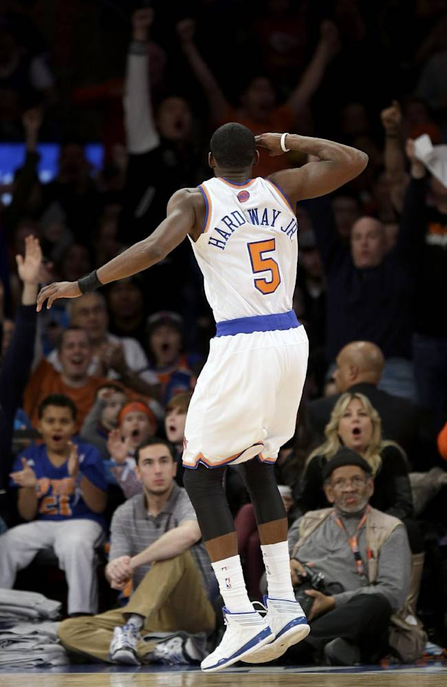New York Knicks' Tim Hardaway Jr. reacts after scoring during the second half of an NBA basketball game against the Los Angeles Lakers at Madison Square Garden, Sunday, Jan. 26, 2014, in New York. The Knicks won 110-103