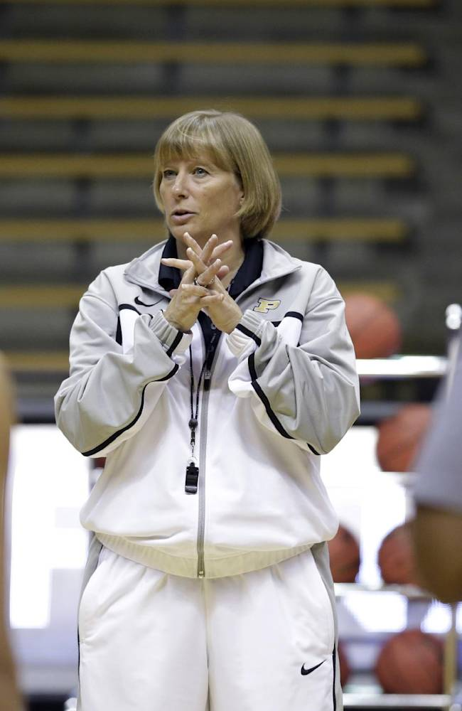 Purdue head coach Sharon Versyp talks to her team during practice at the NCAA women's college basketball tournament in West Lafayette, Ind., Friday, March 21, 2014.  Purdue plays Akron in a first-round game on Saturday