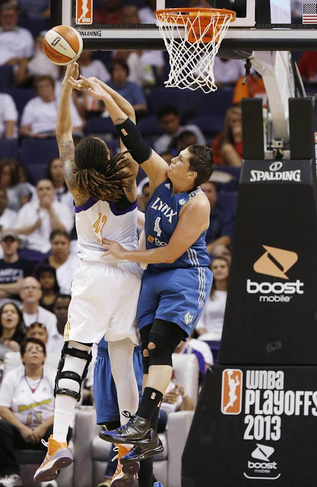 Phoenix Mercury's Brittney Griner (42) has her shot blocked by Minnesota Lynx's Janel McCarville (4) during the second half in a WNBA Western Conference Finals basketball game on Sunday, Sept. 29, 2013, in Phoenix. The Lynx defeated the Mercury 72-65 and won the Western Conference Finals 2-0, earning a trip to the WNBA Finals to face the Atlanta Dream