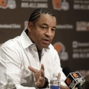 Cleveland Browns defensive coordinator Ray Horton answers questions during a news-conference at the NFL football team's training camp Tuesday, Jan. 29, 2013, in Berea, Ohio. (AP Photo/Tony Dejak)
