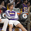 Los Angeles Lakers center Pau Gasol, of Spain, sits on the bench during the second half of an NBA basketball game against the Portland Trail Blazers, Sunday, Dec. 1, 2013, in Los Angeles The Associated Press