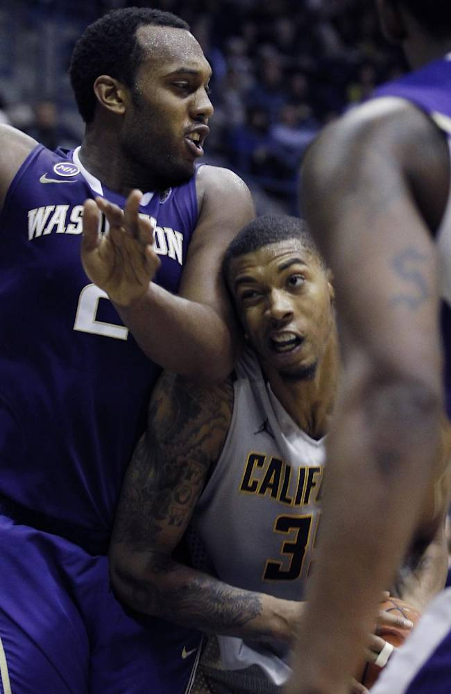 California's Richard Solomon, right, bumps into Washington's Perris Blackwell during the second half of an NCAA college basketball game, Wednesday, Jan. 15, 2014, in Berkeley, Calif