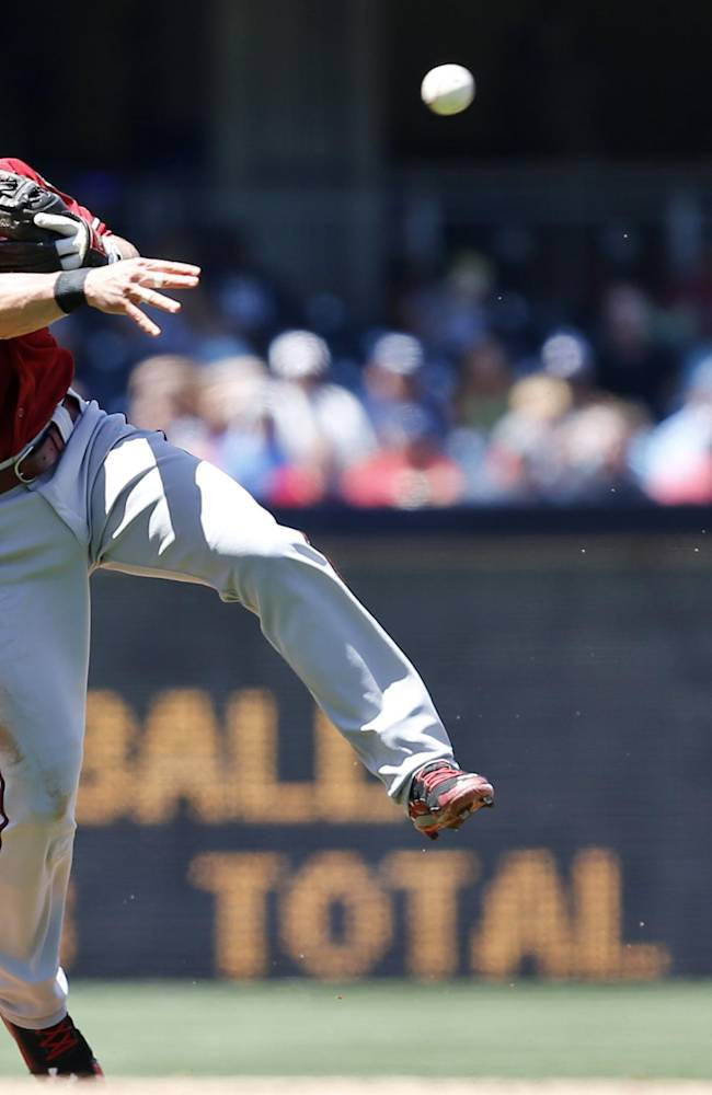 Arizona Diamondbacks shortstop Chris Owings makes the off balance throw after fielding a slow roller to get San Diego Padres' Cameron Maybin at first during the second inning of a baseball game   Sunday, May 4, 2014, in San Diego