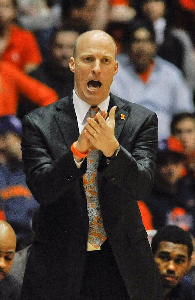 Illinois head coach John Groce yells while on the sideline during the first half of an NCAA college basketball game in Evanston, Ill., on Sunday, Jan. 12, 2014