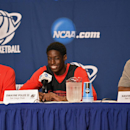 San Diego State forward Josh Davis, left, forward Dwayne Polee II, center, and guard Xavier Thames smile during a news conference at the NCAA men's college basketball tournament, Wednesday, March 26, 2014, in Anaheim, Calif. San Diego State is scheduled t