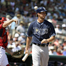 Tampa Bay Rays' Wil Myers steps away from the batters box after striking out as Boston Red Sox catcher Dan Butler returns the ball to pitcher Clay Buchholz in the first inning of an exhibition baseball game, Tuesday, March 4, 2014, in Fort Myers, Fla. The