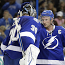 Tampa Bay Lightning center Steven Stamkos. rogjt. congratulates goalie Ben Bishop after the team defeated the Buffalo Sabres 2-1 during an NHL hockey game Friday, Jan. 9, 2015, in Tampa, Fla The Associated Press
