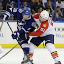Florida Panthers defenseman Brian Campbell (51) ties up Tampa Bay Lightning left wing Ondrej Palat (18) as he goes to the net during the second period of an NHL preseason hockey game Saturday, Oct. 4, 2014, in Tampa, Fla The Associated Press
