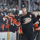 The Ducks' Ryan Getzlaf celebrates his third period goal during Anaheim's 6-3 victory over the Calgary Flames at Honda Center Wednesday night Jan. 21, 2015 The Associated Press