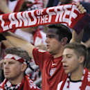 United States fans cheer on their team during the first half against Mexico in a World Cup qualifying soccer match Tuesday, Sept. 10, 2013, in Columbus, Ohio. (AP Photo/Jay LaPrete)