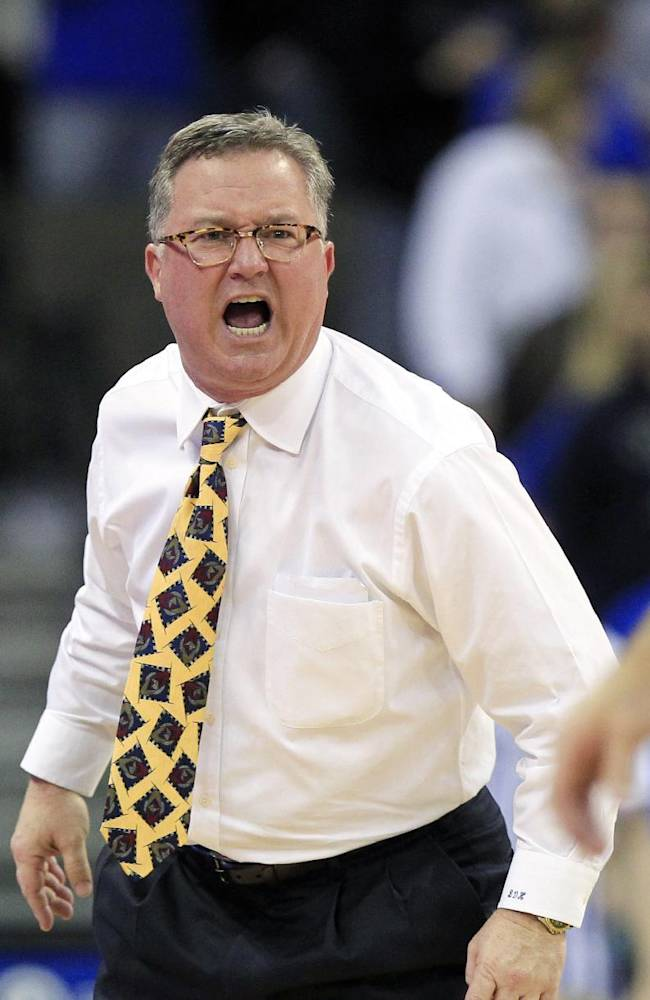 In this Feb. 19, 2013 file photo, Southern Illinois head coach Barry Hinson yells during the second half og an NCAA college basketball game against Creighton, in Omaha, Neb. Hinson lambasted his players after a loss at Murray State, calling them