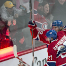 Montreal Canadiens' Dale Weise, right, celebrates his first goal against the Philadelphia Flyers with teammate Alex Galchenyuk during the third period of their NHL hockey game in Montreal on Saturday, Nov. 15, 2014 The Associated Press