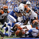 Indianapolis Colts running back Ahmad Bradshaw (44) runs one yard for a touchdown during the first half of an NFL football game against the Cincinnati Bengals, Sunday, Oct. 19, 2014, in Indianapolis The Associated Press