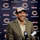 New Chicago Bears NFL football player Jared Allen, laughs while he talked to the media at a news conference where Allen was introduced Monday, March 31, 2014, in Lake Forest, Ill The Associated Press