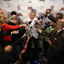 The Chicago Cubs' new manager Rick Renteria speaks to the media during a press conference at Wrigley Field in Chicago, Thursday, Dec., 5, 2013. Renteria met with the media for the first time since he was hired last month, while recuperating in San Diego f