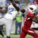 Detroit Lions strong safety James Ihedigbo (32) breaks up a pass intended for Arizona Cardinals wide receiver John Brown (12) during the second half of an NFL football game, Sunday, Nov. 16, 2014, in Glendale, Ariz The Associated Press