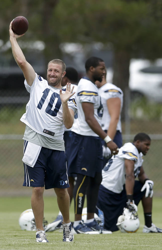San Diego Chargers quarterback Kellen Clemens throws a pass at an NFL football training camp on Friday, July 25, 2014, in San Diego. (AP Photo)