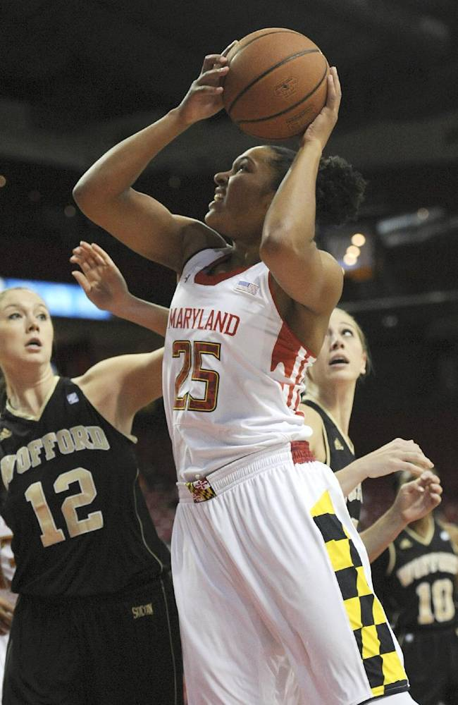 Maryland's Alyssa Thomas, right, shoots as Wofford's Lauren Kirby defends  in the first half of an NCAA college basketball game Saturday, Dec. 28, 2013, in College Park, Md