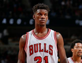 CHICAGO, IL - MAY 14: Jimmy Butler #21 of the Chicago Bulls stands on the court during a game against the Cleveland Cavaliers in Game Six of the Eastern Conference Semifinals during the 2015 NBA Playoffs on May 14, 2015 at the United Center in Chicago,Illinois (Photo by Jesse D. Garrabrant/NBAE via Getty Images)