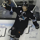 San Jose Sharks' Joe Pavelski celebrates after scoring against the Los Angeles Kings during the third period of Game 2 of an NHL hockey first-round playoff series Sunday, April 20, 2014, in San Jose, Calif The Associated Press