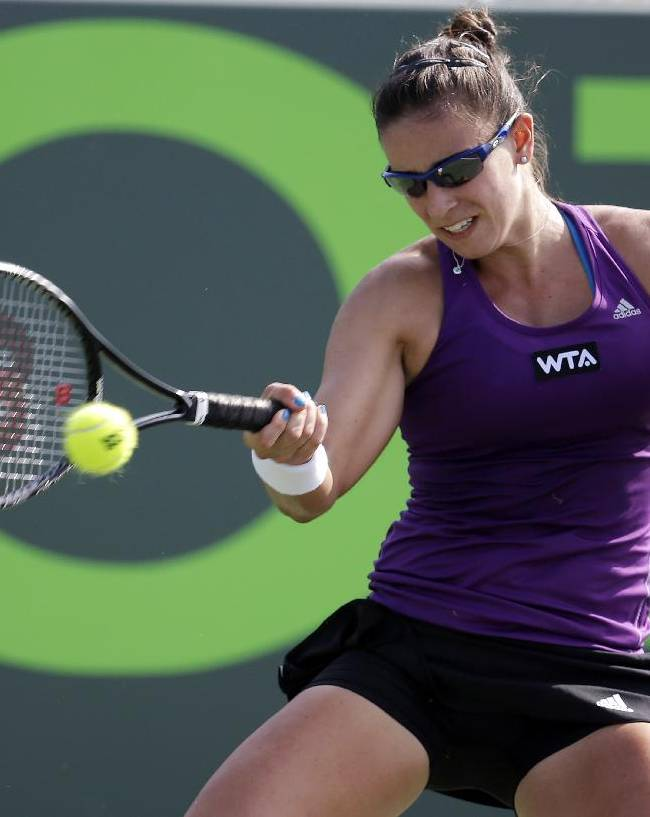 Paula Ormaechea, of Argentina, returns the ball to Petra Kvitova, of Czech Republic, at the Sony Open tennis tournament, Thursday, March 20, 2014, in Key Biscayne, Fla. AP Photo/Lynne Sladky)