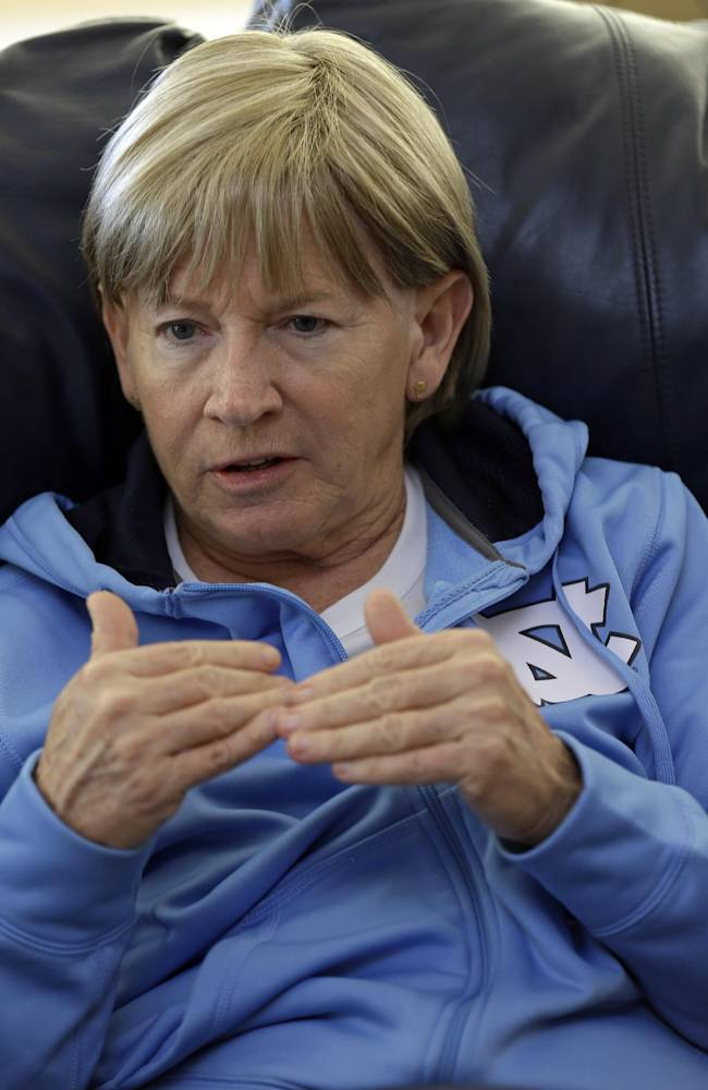 In this Wednesday, Dec. 18, 2013, photo, North Carolina women's basketball coach Sylvia Hatchell talks about her experience with leukemia, during an interview at her home in Chapel Hill, N.C.  Hatchell has temporarily stepped away from her coaching duties to focus on her treatment