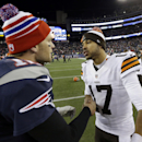New England Patriots quarterback Tom Brady, left, speaks to Cleveland Browns quarterback Jason Campbell, right, after an NFL football game on Sunday, Dec. 8, 2013, in Foxborough, Mass. The Patriots came from behind to win 27-26 The Associated Press
