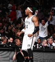BROOKLYN, NY - MAY 10: Paul Pierce #34 of the Brooklyn Nets during the game against the Miami Heat during Game Three of the Eastern Conference Semifinals on May 10, 2014 at Barclays Center in Brooklyn. (Photo by Nathaniel S. Butler/NBAE via Getty Images)