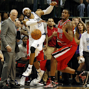 Dallas Mavericks guard/forward Vince Carter (25) is fouled by Portland Trail Blazers forward LaMarcus Aldridge (12) at the end of Dallas' 103-98 win in an NBA basketball game on Friday, March 7, 2014, in Dallas The Associated Press