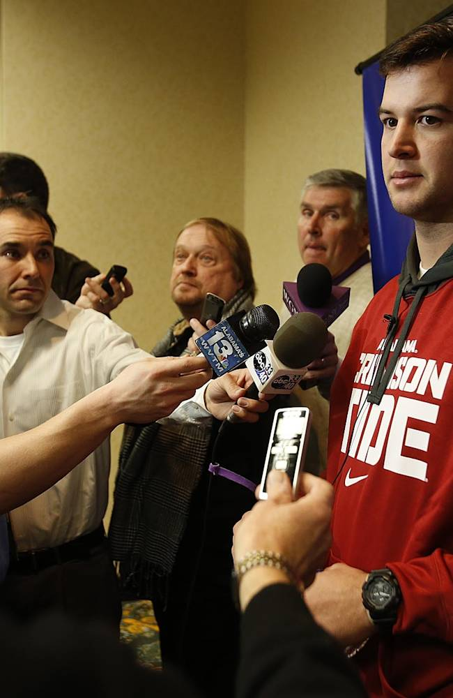 Alabama quarterback AJ McCarron speaks to the media during an NCAA college football news conference on Friday Dec. 27, 2013, in New Orleans. Alabama faces Oklahoma in the Sugar Bowl on Thursday, Jan. 2, 2014