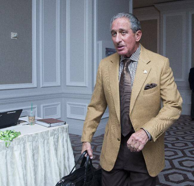 Atlanta Falcons football team owner Arthur Blank attends NFL owners fall meeting in Washington, Tuesday, Oct. 8, 2013