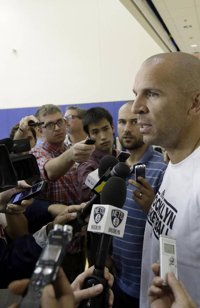 Brooklyn Nets coach Jason Kidd speaks with the media at NBA basketball training camp at Duke University in Durham, N.C., Wednesday, Oct. 2, 2013