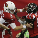 Atlanta Falcons wide receiver Devin Hester (17) works against Arizona Cardinals punter Drew Butler (2) during the first half of an NFL football game, Sunday, Nov. 30, 2014, in Atlanta The Associated Press