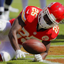 Kansas City Chiefs running back Jamaal Charles (25) gets up after scoring a touchdown against the St. Louis Rams in the first half of an NFL football game in Kansas City, Mo., Sunday, Oct. 26, 2014 The Associated Press