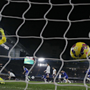 Everton's Tim Howard reacts as Chelsea's Willian scores the only goal of the game during their English Premier League soccer match between Chelsea and Everton at Stamford Bridge stadium in London, Wednesday, Feb. 11, 2015. (AP Photo/Alastair Grant)