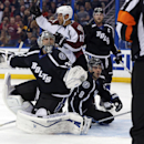 Tampa Bay Lightning goalie Ben Bishop appeals to referee Frederick L'Ecuyer after being disrupted by Colorado Avalanche's Jarome Iginla on an Avalanche goal that was disallowed as the Lightning's Mark Barberio (8) and Steven Stamkos (91) look on during th