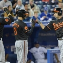Baltimore Orioles' J.J. Hardy, right, celebrates his home run with teammates Nick Markakis, center, and Manny Machado, left, against the Toronto Blue Jays during first-inning AL baseball game action in Toronto, Friday May 24, 2013. (AP Photo/The Canadian Press, Nathan Denette)
