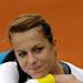 Russia's Anastasia Pavlyuchenkova leaves the court after winning her Portugal Open first round tennis match Tuesday, April 30 2013, in Oeiras, outside Lisbon. Pavlyuchenkova defeated Israel's Shahar Peer 6-4, 6-4. 