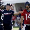 Houston Texans coach Bill O'Brien, center, talks with quarterback Ryan Fitzpatrick (14) and wide receiver Andre Johnson, left, during an NFL football training camp practice Sunday, July 27, 2014, in Houston The Associated Press