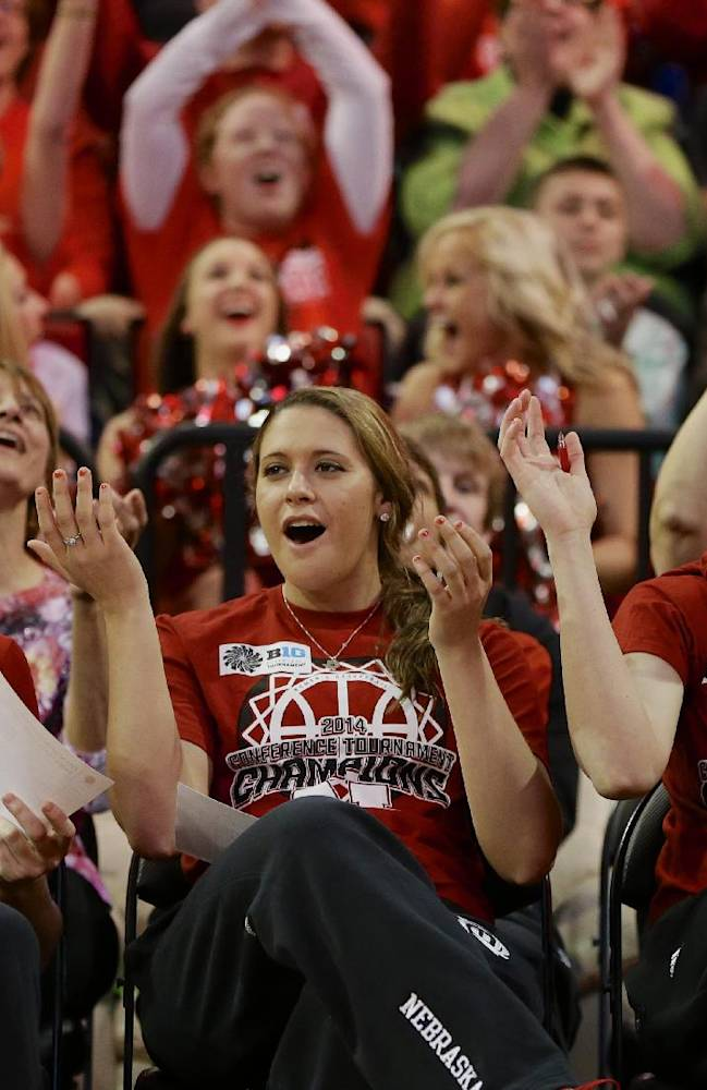 CORRECTS THE ROUND THE TEAM WILL PLAY IN - Nebraska's Jordan Hooper, left, Hailie Sample, center, and   Emily Cady, right, react after they hear their assignment for the NCAA college basketball tournament during a live television broadcast in Lincoln, Neb., Monday, March 17, 2014. Nebraska will play in the first round against Fresno State in Los Angeles