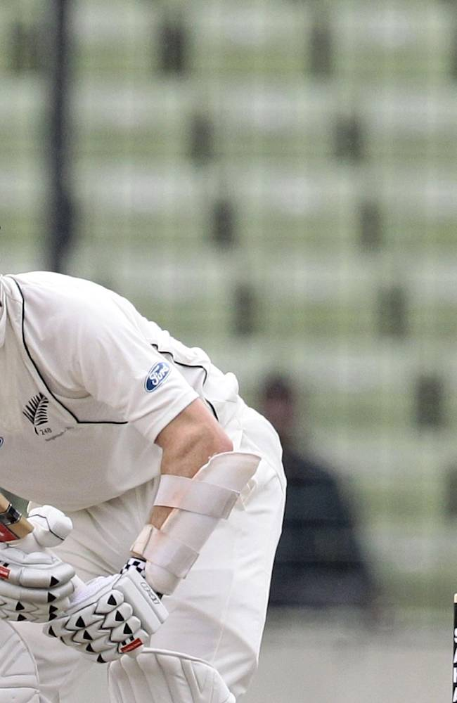 New Zealand's Kane Williamson bats during the second day of the second cricket test match against Bangladesh in Dhaka, Bangladesh, Tuesday, Oct. 22, 2013