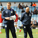 Aston Villa's newly promoted assistants to the manager Shay Given, left, and Gordon Cowans are seen before the English Premier League soccer match between Aston Villa and Southampton at Villa Park, in Birmingham, England, Saturday, April 19, 2014