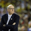 Syracuse head coach Jim Boeheim watches during the first half of the NCAA Final Four tournament college basketball semifinal game against Michigan Saturday, April 6, 2013, in Atlanta. (AP Photo/John Bazemore)