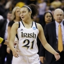 Notre Dame guard Kayla McBride smiles as she walks off the court after a first-round game against Tennessee-Martin in the women's NCAA college basketball tournament, Sunday, March 24, 2013, in Iowa City, Iowa. Notre Dame won 97-64. (AP Photo/Charlie Neibergall)