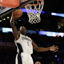Team Webber's Victor Oladipo of the Orlando Magic shoots against Team Hill's Dion Waiters of the Cleveland Cavaliers during the Rising Star NBA All Star Challenge Basketball game, Friday, Feb. 14, 2014, in New Orleans The Associated Press