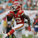 Kansas City Chiefs running back Joe McKnight (22) walks onto the end zone for a touchdown during the second half of an NFL football game against the Miami Dolphins, Sunday, Sept. 21, 2014, in Miami Gardens, Fla The Associated Press