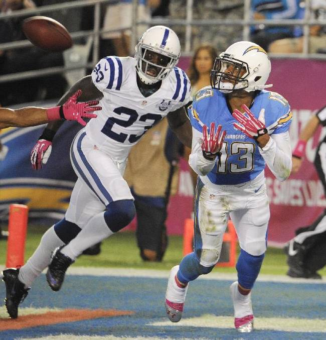 San Diego Chargers wide receiver Keenan Allen, right, makes a touchdown catch in the end zone as Indianapolis Colts cornerback Vontae Davis, center, and free safety Delano Howell, left, look on during the first half of an NFL football game Monday, Oct. 14, 2013, in San Diego