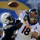 San Diego Chargers outside linebacker Melvin Ingram, left, knocks a pass way from Denver Broncos quarterback Peyton Manning during the first half of an NFL football game Sunday, Dec. 14, 2014, in San Diego The Associated Press